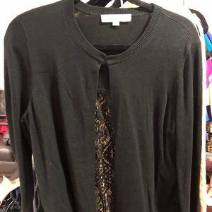 LOFT Sweater in black w/ lace back